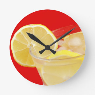 レモン飲み物のデザイン ラウンド壁時計