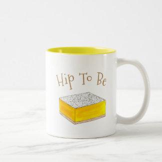 (レモン)角形材のグルメのデザートの黄色があるお尻 ツートーンマグカップ