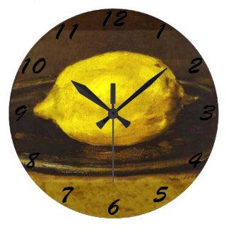 レモン- 3つのサイズの時計 ラージ壁時計