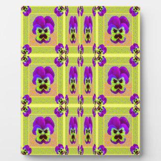 レモンSharles著紫色のパンジーパターンギフト フォトプラーク