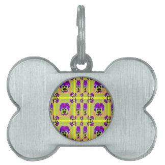 レモンSharles著紫色のパンジーパターンギフト ペットネームタグ