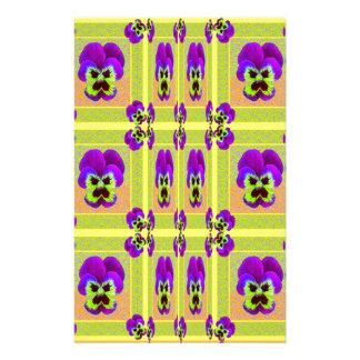 レモンSharles著紫色のパンジーパターンギフト 便箋