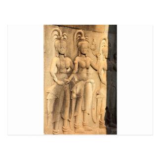 レリーフ、浮き彫りの仏教彫刻のアンコール・ワットの寺院 ポストカード