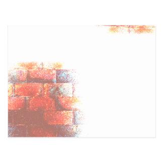 レンガ壁および白の宇宙。 デジタルArt. ポストカード