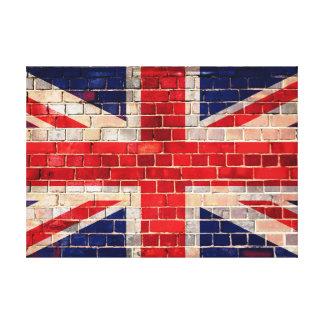 レンガ壁のイギリスの旗 キャンバスプリント