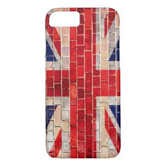 レンガ壁の英国国旗のイギリスの旗 iPhone 8/7ケース
