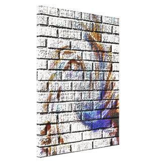 レンガ壁の落書き キャンバスプリント