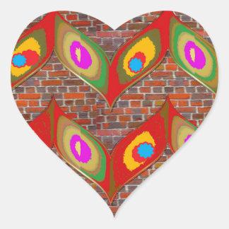 レンガ壁のgoodluckのおもしろいの葉のスタイルの多彩な芸術 ハートシール