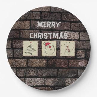 レンガ壁のgrundgeのおもしろいのクリスマスのパッチワーク ペーパープレート