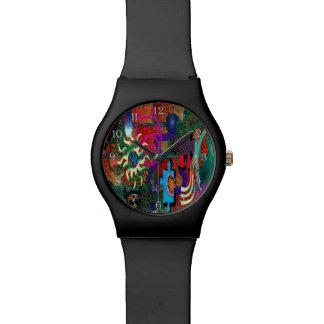 レンガ壁のU一突き色の落書きの芸術 腕時計