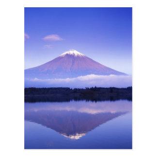 レンズの雲、Motosu湖が付いている富士山、 葉書き