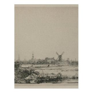 レンブラント著アムステルダムの眺め ポストカード