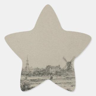 レンブラント著アムステルダムの眺め 星シール