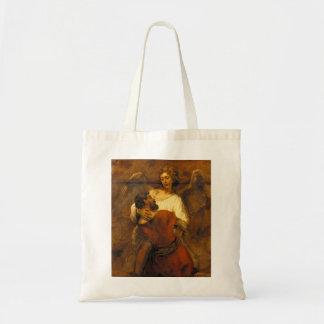 レンブラント著天使のヤコブのレスリング トートバッグ
