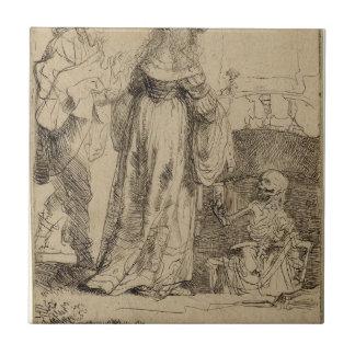 レンブラント著結婚したカップルに現われる死 タイル