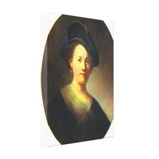 レンブラント-ベレー帽を持つ若い女性のポートレート キャンバスプリント
