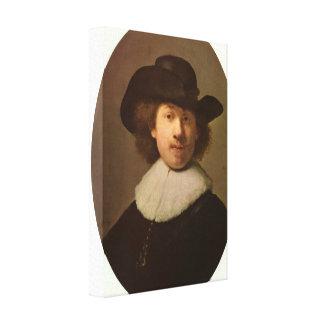 レンブラント-自画像の楕円形 キャンバスプリント
