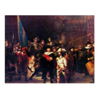 レンブラントHarmenszoon van Rijn著夜警員 ポストカード