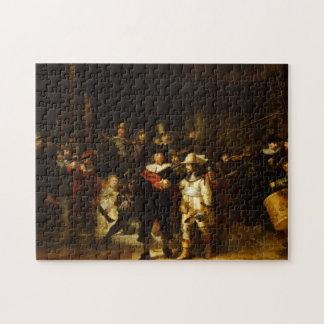 レンブラントNightwatchの夜警員のバロック式の絵画 ジグソーパズル