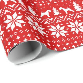 レークランドテリアのクリスマスのセーターパターン赤 ラッピングペーパー