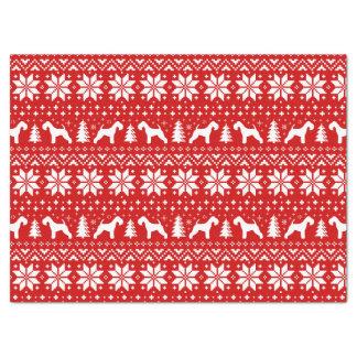 レークランドテリアはクリスマスパターン赤のシルエットを描きます 薄葉紙