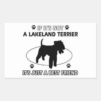 レークランドテリア犬のデザイン 長方形シール