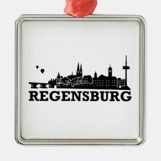 レーゲンスブルクのスカイライン シルバーカラー正方形オーナメント