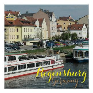 レーゲンスブルクドイツ美しい市 ポスター