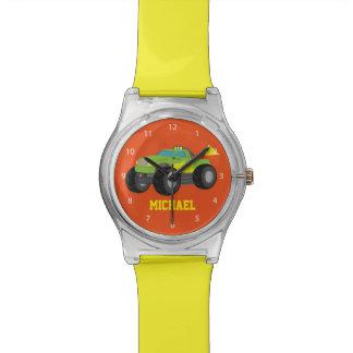 レーサーの男の子のための緑のモンスタートラックの競争 腕時計