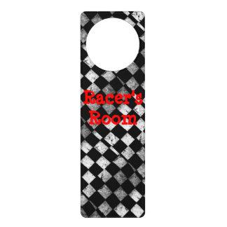 レーサーの部屋のチェック模様の旗のドア・ハンガー ドアノブプレート