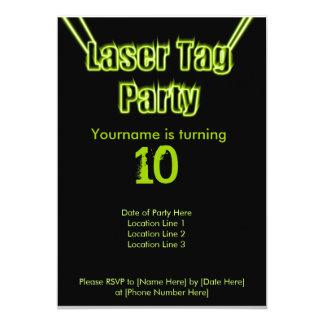 レーザーのラベルのパーティーの緑の招待状 カード