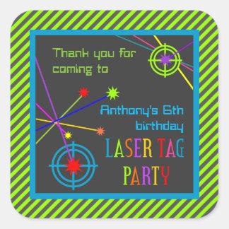 レーザーのラベルのパーティーの誕生日はステッカー感謝していしています スクエアシール