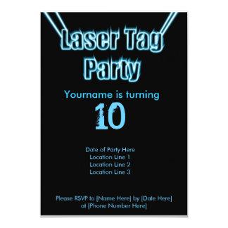 レーザーのラベルのパーティーの青の招待状 カード