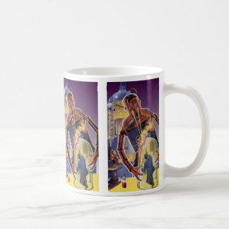 レーザ光線の目が付いているヴィンテージの空想科学小説のロボット コーヒーマグカップ