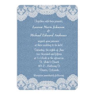 レースおよびデニムの結婚式 カード