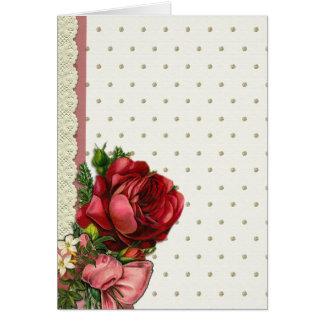 レースが付いている赤及びクリームのばら色の花束 カード