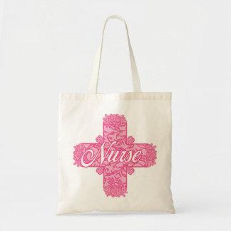 レースのようなピンクのナースの十字 トートバッグ