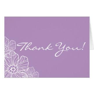 レースのような花柄はメッセージカード|の藤色感謝していしています カード