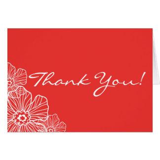 レースのような花柄はメッセージカード|の赤感謝していしています ノートカード