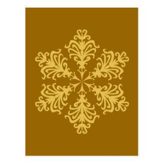 レースのような金ゴールドのクリスマスの雪片 ポストカード