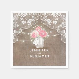 レースのバーラップの花のメーソンジャーの素朴な結婚式 スタンダードカクテルナプキン