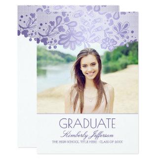 レースのラベンダーの紫色の写真の卒業パーティー 12.7 X 17.8 インビテーションカード