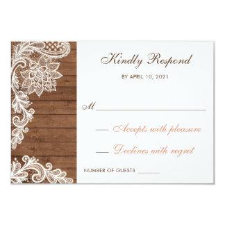 レースの木製の素朴結婚式RSVPカード答えます カード