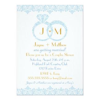 レースの結婚指輪の招待状 カード