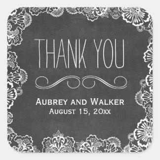 レースの花の黒板の結婚式の引き出物のステッカー スクエアシール