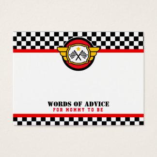レースカーのアドバイスはベビーシャワーを梳きます 名刺
