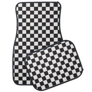 レースカーの白黒レジ係の旗パターン カーマット