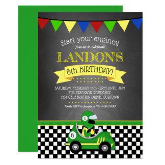 レースカーの誕生日のパーティの招待状 カード
