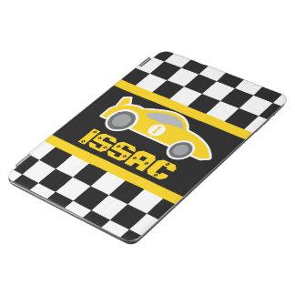 レースカーは名前入りで黄色いipadカバーを遊ばします iPad air カバー
