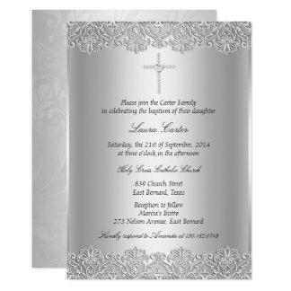 レース及び十字の洗礼または《キリスト教》洗礼式や命名式の招待状 カード